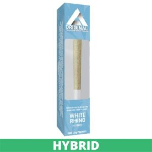 """White and blue box with a Delta Effex White Rhino preroll - green """"hybrid"""" banner"""