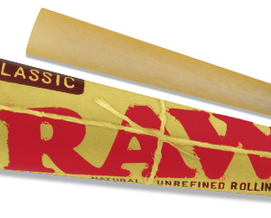 Yellow RAW cone that is used for smoking flower. Red and brown lettering.
