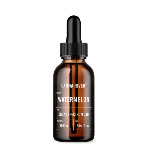 Brown 60ml bottle of Canna River Watermelon Broad Spectrum CBD oil with black dropper at 5000mg strength.