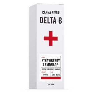 White and red box of Canna River Delta 8 Tincture in strawberry lemonade flavor, 3000mg strength