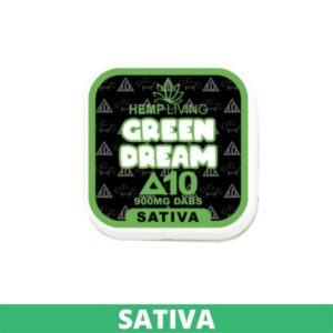 black, white, and green box of d10 dabs - green dream - 900mg. white writing. - green banner at the bottom - sativa