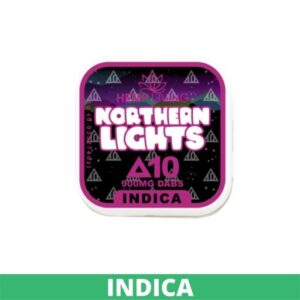 small black, pink, and white box of d10 dabs - northern lights - 900mg. white writing. green banner at bottom - indica