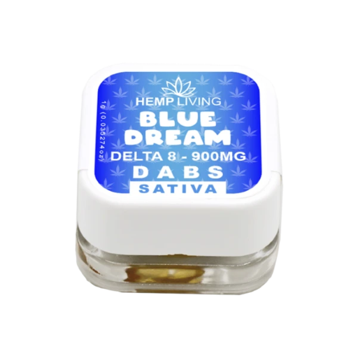 small blue and white box of d8 dabs - Blue Dream - 900mg. white writing.