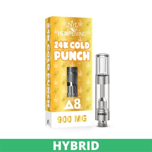 Gold box of Hemp Living 24K Gold Punch - Delta 8, 900mg. Small marjiuana leaves in white on package. On right side of the box, a silver vape cartridge sits upright showing size.