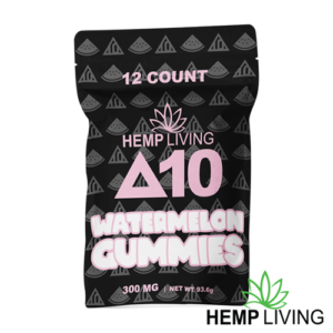 Black bag with pink and white writing - hemp living d10 watermelon gummies - 12 count, hemp living brand at bottom right of picture