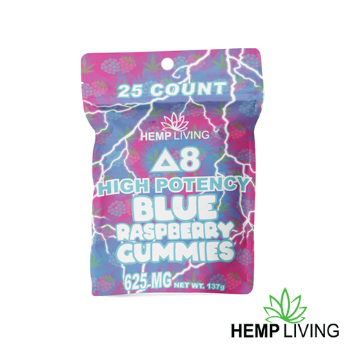 25 count blue and pink hues-colored bag of high potency d8 blue raspberry gummies with hemp living logo at bottom right