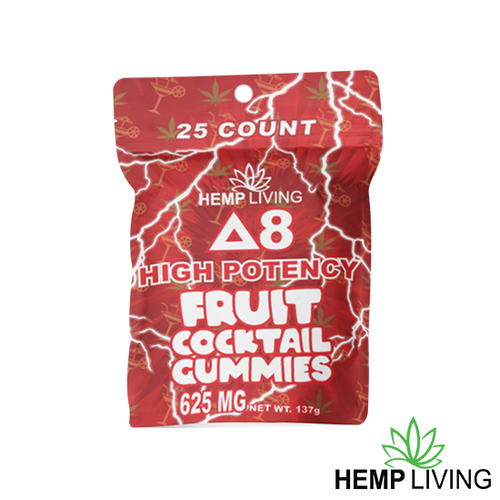 25 count red hues-colored bag of high potency d8 fruit cocktail gummies with hemp living logo at bottom right