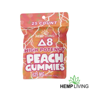 25 count orange and pink hues-colored bag of high potency d8 peach gummies with hemp living logo at bottom right