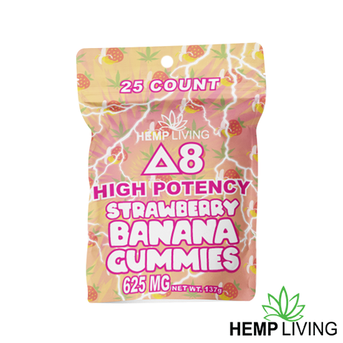 25 count orange and pink hues-colored bag of high potency d8 strawberry banana gummies with hemp living logo at bottom right