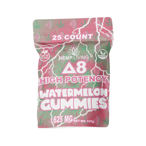 25 count green and pink hues-colored bag of high potency d8 watermelon gummies with hemp living logo at bottom right