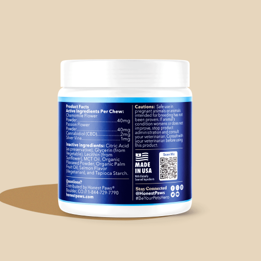 White container with blue label, product facts, made in the usa