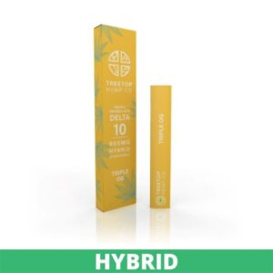 Two yellow boxes with white writing of Treetop Hemp co delta 10 vape pens, the left one is taller and has green marijuana plants on it.