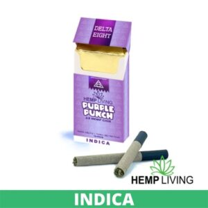 Purple cigarette box with white and purple writing - Purple Punch - Indica from Hemp Living USA, 2 crossed dark-colored cigarettes laying in front right, with Hemp Living logo. green banner that says indica on it at the bottom.