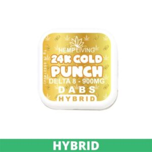 small gold box of d8 dabs - 25K Gold Punch - 900mg. white writing. green banner at bottom - hybrid.