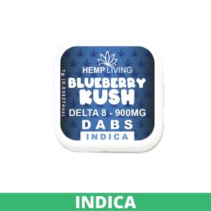 small blue and white box of d8 dabs - blueberry kush - 900mg. white writing. green indica banner at the bottom