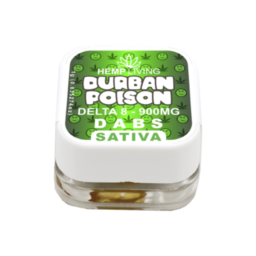 small green and white box of d8 dabs - durban poison - 900mg. white writing.