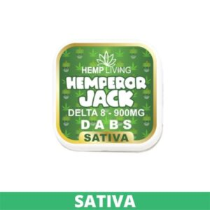 black, white, and green box of d8 dabs - hemperor jack - 900mg. white writing. - green banner at the bottom - sativa
