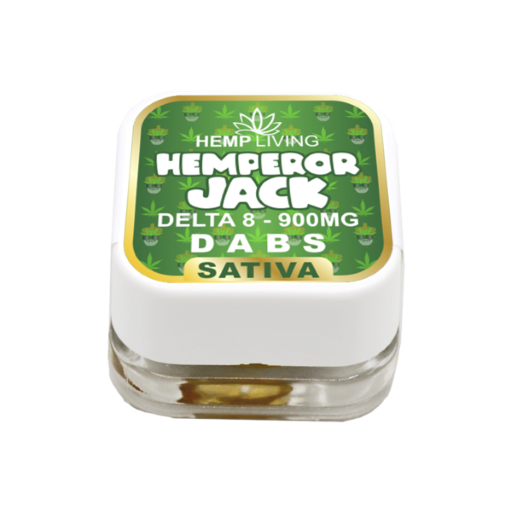 small green and white box of d8 dabs - hemperor jack - 900mg. white writing.