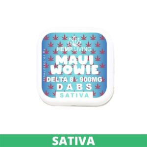 small blue and white box of d8 dabs - maui wowie - 900mg. white writing. green sativa banner at the bottom