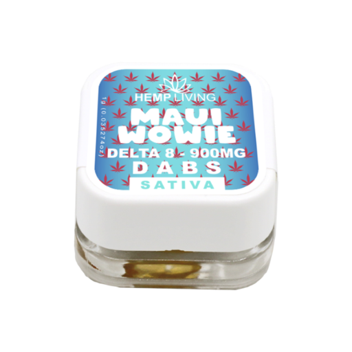 small blue and white box of d8 dabs - maui wowie - 900mg. white writing.