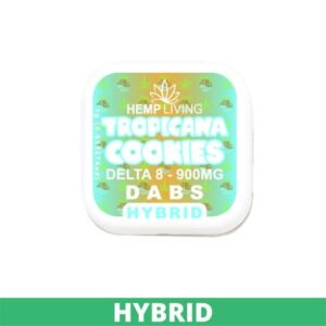 small blue and orange box of d8 dabs - Tropicana Cookies - 900mg. white writing. green banner at bottom - hybrid.