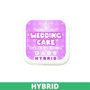 small white and pink box of d8 dabs - wedding cake - 900mg. white writing. green banner at bottom - hybrid.
