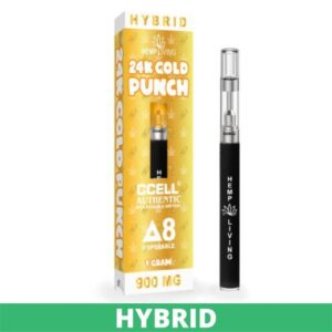 """a white and yellow box with white and yellow writing - 24k gold punch Delta 8 disposable pen, 900mg. Tall black disposable pen to the right with a gray tip - """"hemp living"""" in white writing. green banner at the bottom that says """"hybrid"""""""