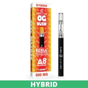 """a red and yellow box with white and red writing - og kush Delta 8 disposable pen, 900mg. Tall black disposable pen to the right with a gray tip - """"hemp living"""" in white writing. green banner at the bottom that says """"hybrid"""""""